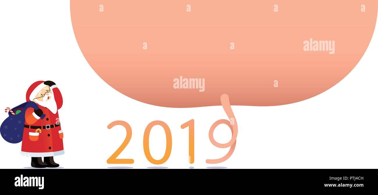 Immagini Divertenti Natale 2019.Illustrazione Vettoriale Poster Felice Anno Nuovo 2019