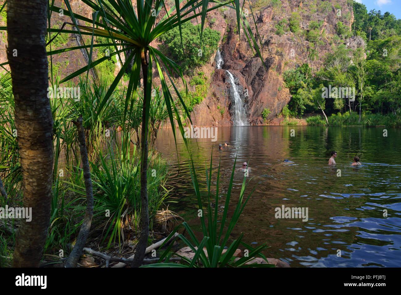 Wangi Falls, il Parco Nazionale di Litchfield, Territorio del Nord, l'Australia Immagini Stock