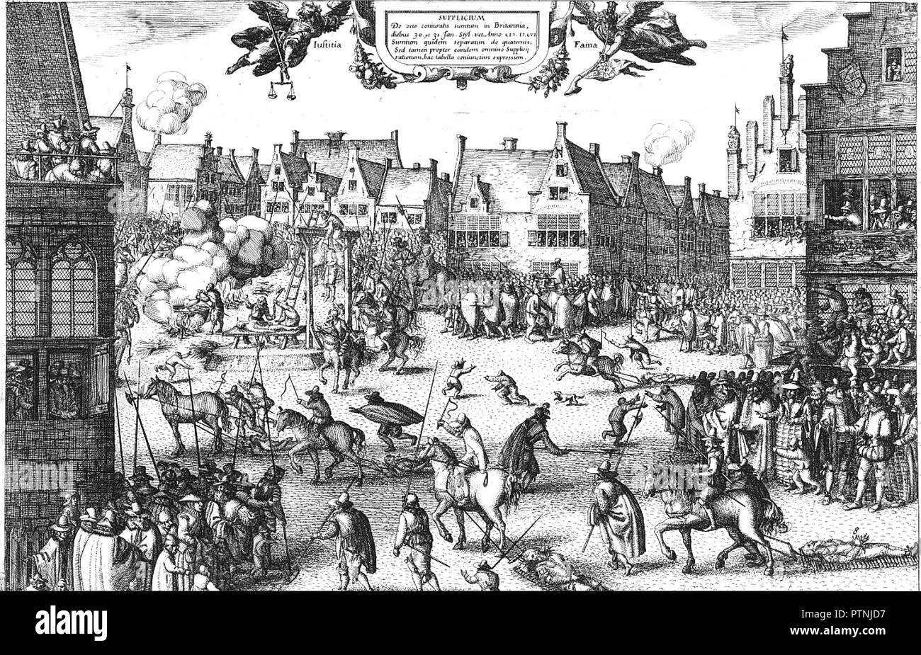Esecuzione della polvere da sparo PLOT cospiratori nel 1606 l'attacco di Claes Visscher Immagini Stock