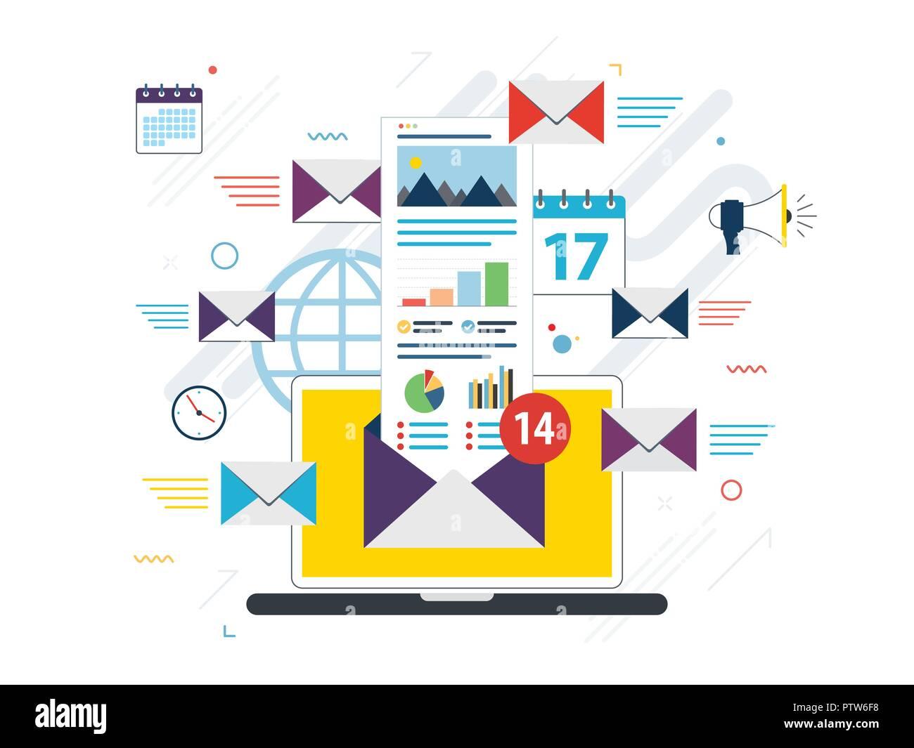Computer portatile con la busta e aprire la posta elettronica sullo schermo. Email marketing pubblicità su internet i concetti. Appartamento illustrazione vettoriale. Immagini Stock