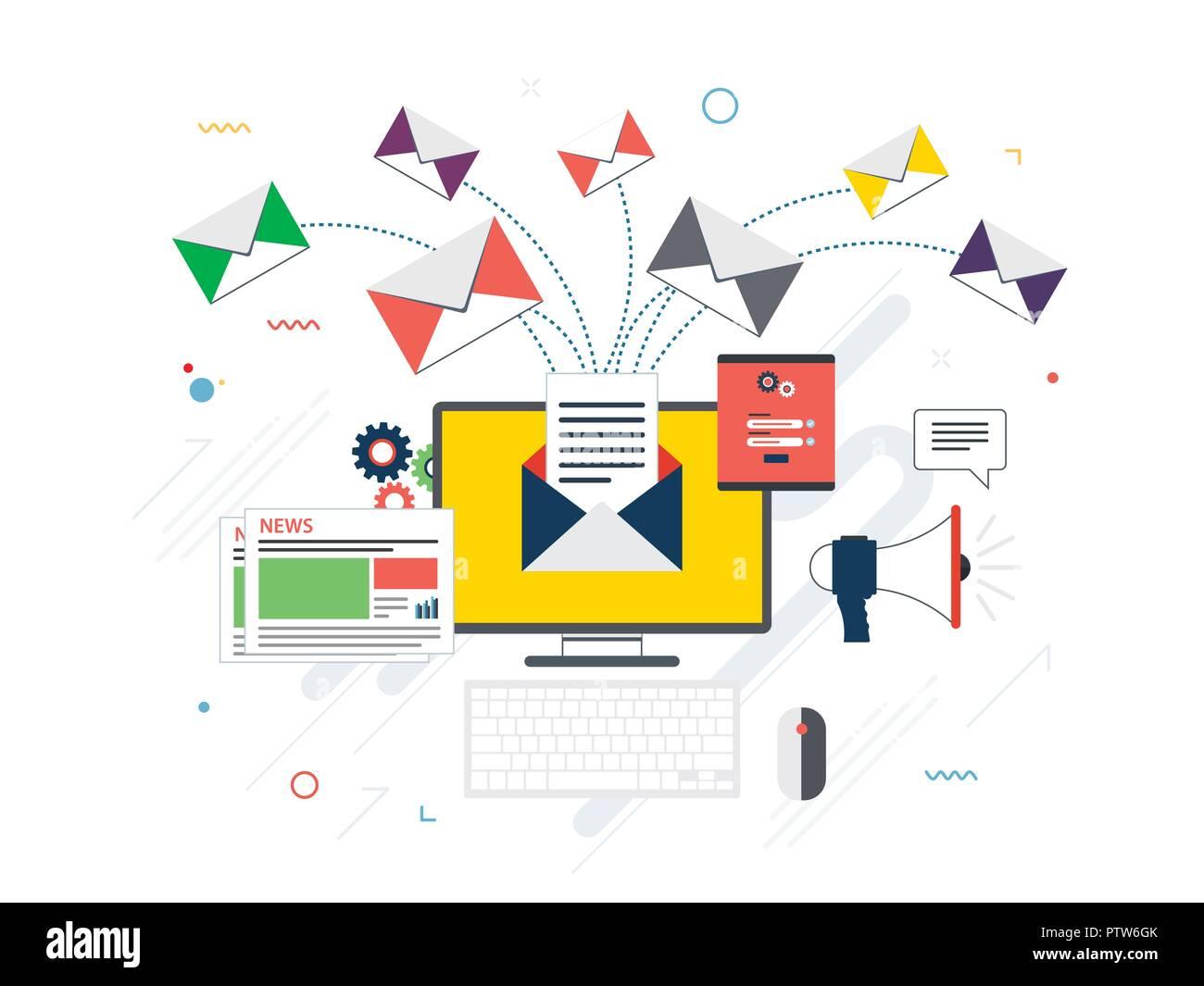 Design piatto concetti per inviare o ricevere messaggi di posta elettronica marketing e comunicazione di impresa e marketing, analisi e strategia aziendale nel vettore design. Immagini Stock