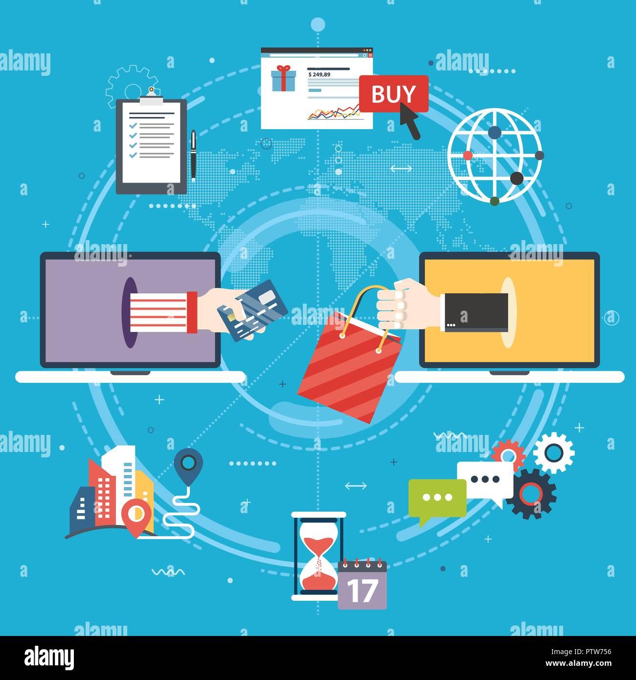 c5024d2718 Acquisto, vendita, di pagamento e di consegna del prodotto. L'E-commerce, shopping  online, con carta di credito, laptop, supporto e consegna copie