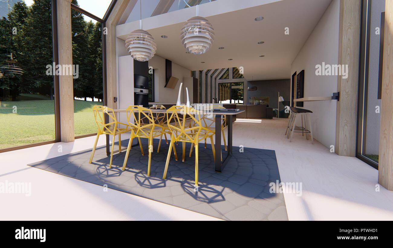 Interni Moderni Case Di Lusso : Gli interni moderni del lusso casa scandinavo sala da pranzo