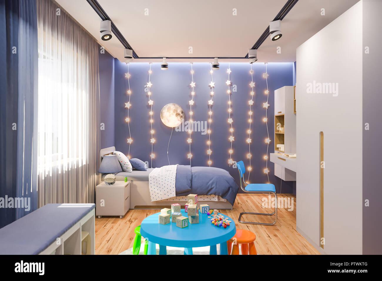 3d illustrazione della camera da letto per bambini in colore blu ...