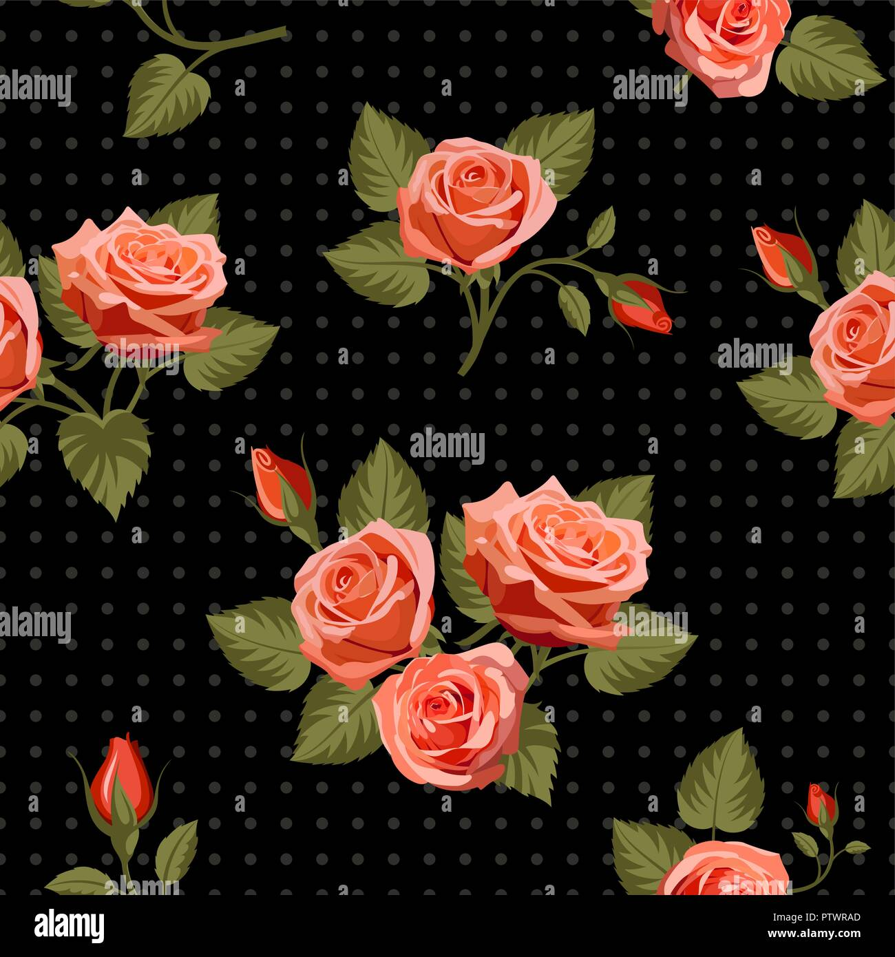 Floral Background Senza Giunture Con Rose Rosse Sul Nero Utilizzare