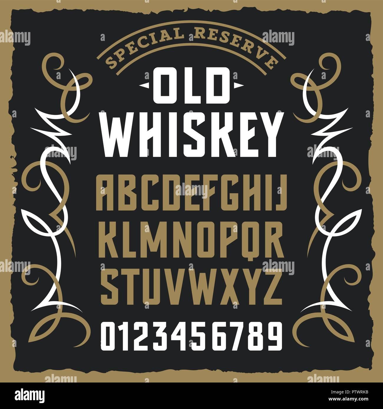 Etichetta Vintage font / disegno di campionamento con il grunge e gli elementi decorativi / lettere maiuscole e numeri Immagini Stock
