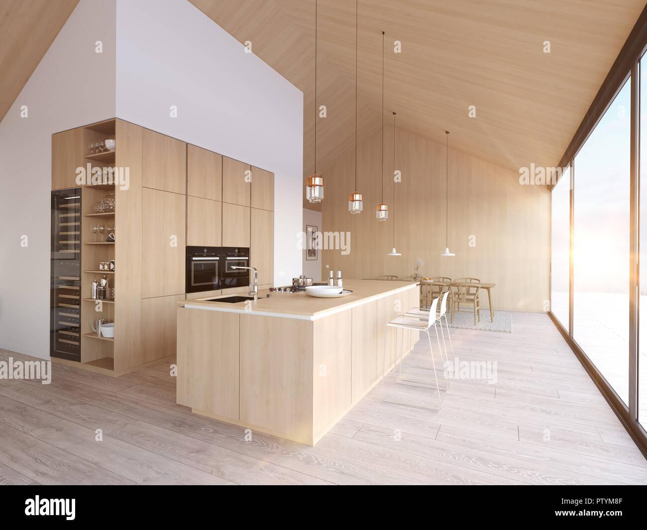 Moderna Cucina Nordica Nel Loft Appartamento Il Rendering 3d Foto Stock Alamy