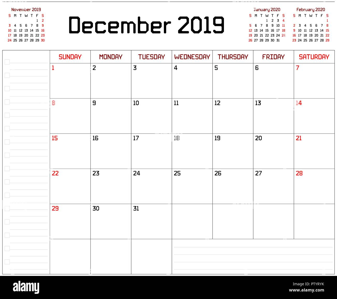 Calendario Mese Dicembre 2019.Un Pianificatore Mensile Calendario Per Il Mese Di Dicembre