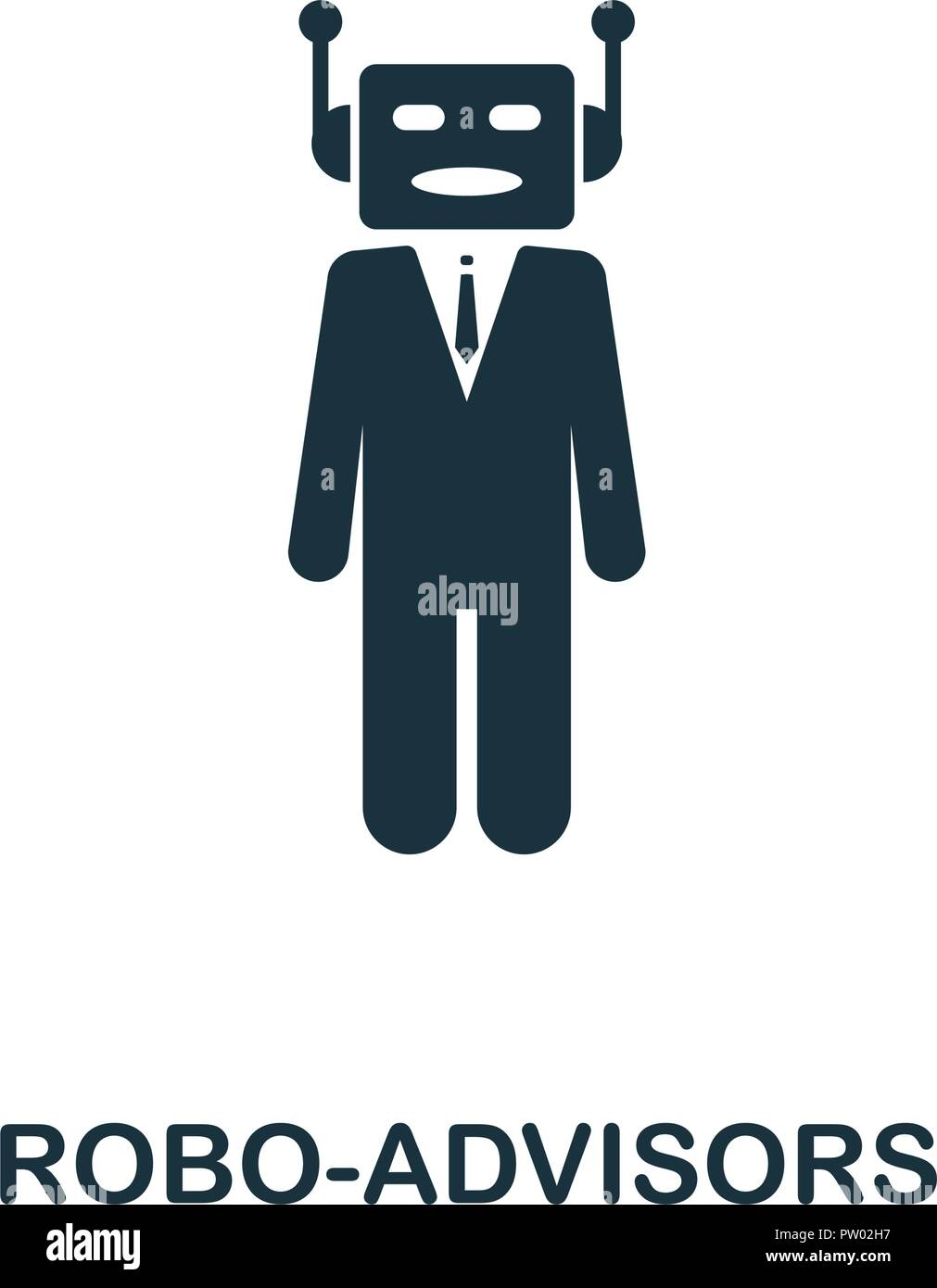 Icona Robo-Advisors. Monocromatico design di stile dalla collezione di fintech. UX e UI. Pixel perfect robo-icona di consulenti. Per il web design, applicazioni software, prin Illustrazione Vettoriale