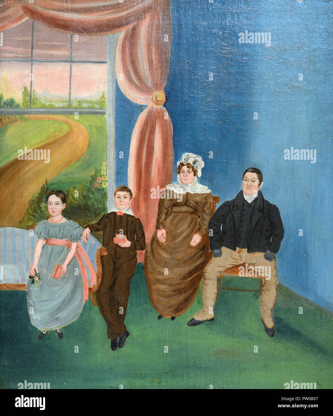 Il matrimonio o un matrimonio cerimonia a Gretna Green. Arte popolare il dipinto a olio su tela 1907 siglate A.B. Immagini Stock