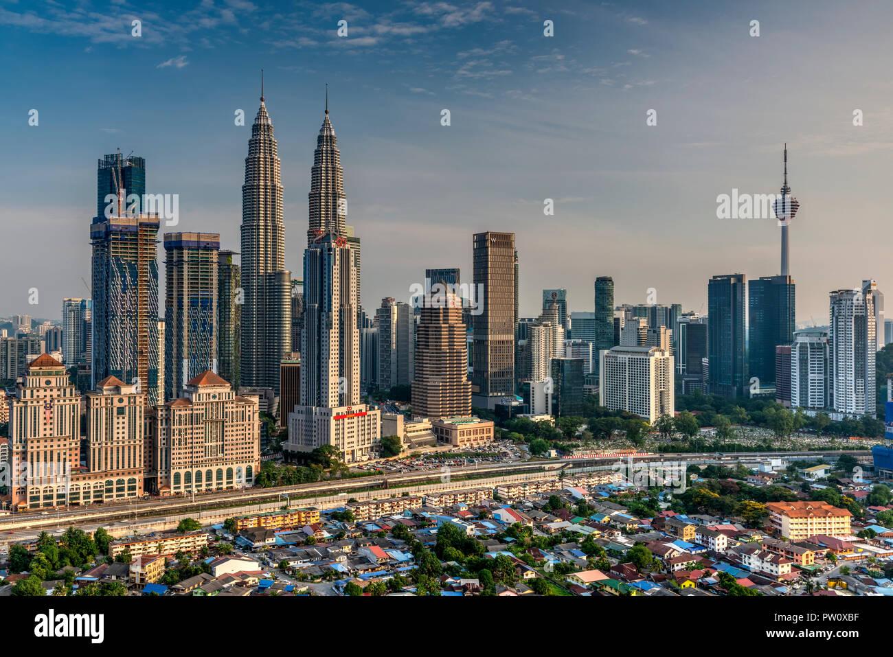 Lo skyline della citta', Kuala Lumpur, Malesia Immagini Stock