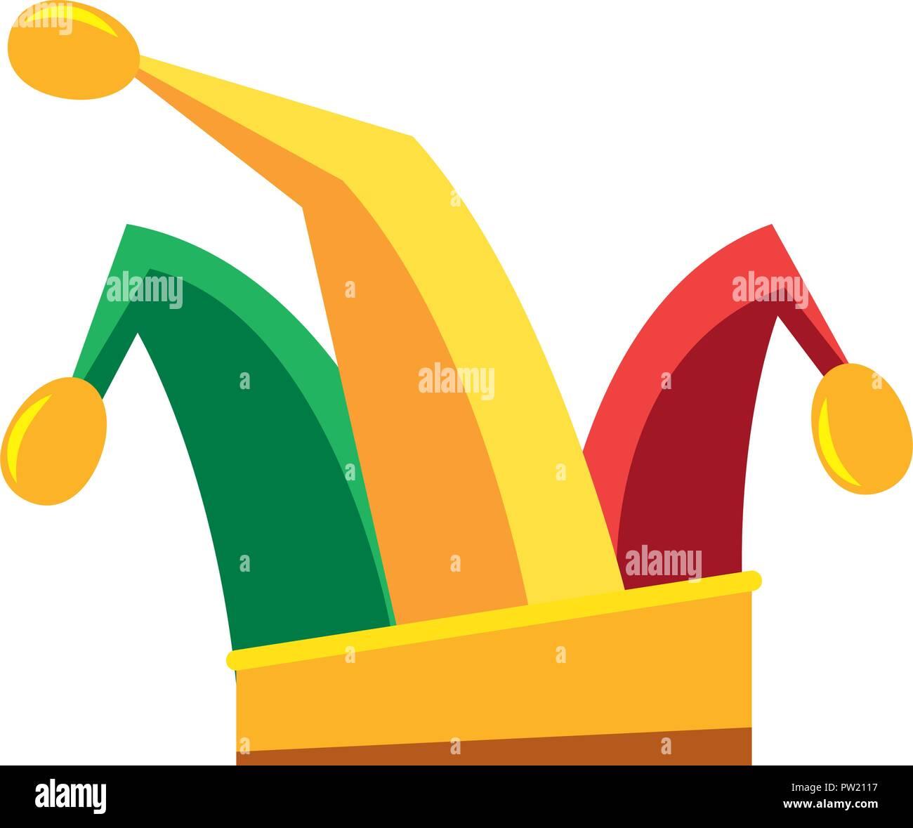 Circus jester hat festa di carnevale illustrazione vettoriale contorno  Immagini Stock 210985e768b1
