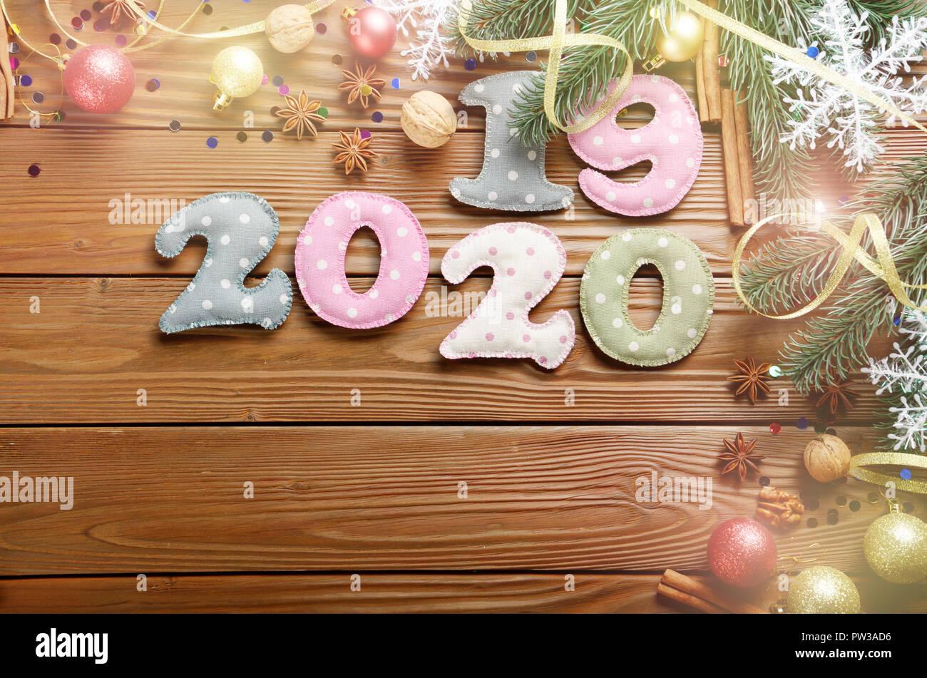 Decorazioni Natalizie 2019.Colorata Cucito Cifre 2019 2020 Di Polkadot Tessuto Con Decorazioni