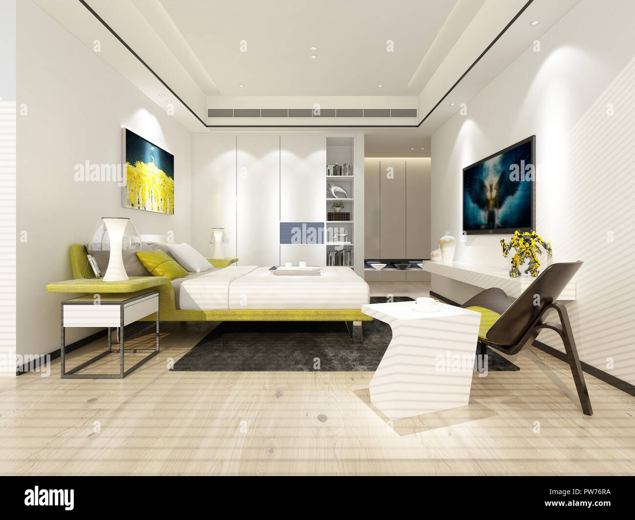 3D render di hotel di lusso, camera da letto Foto & Immagine ...