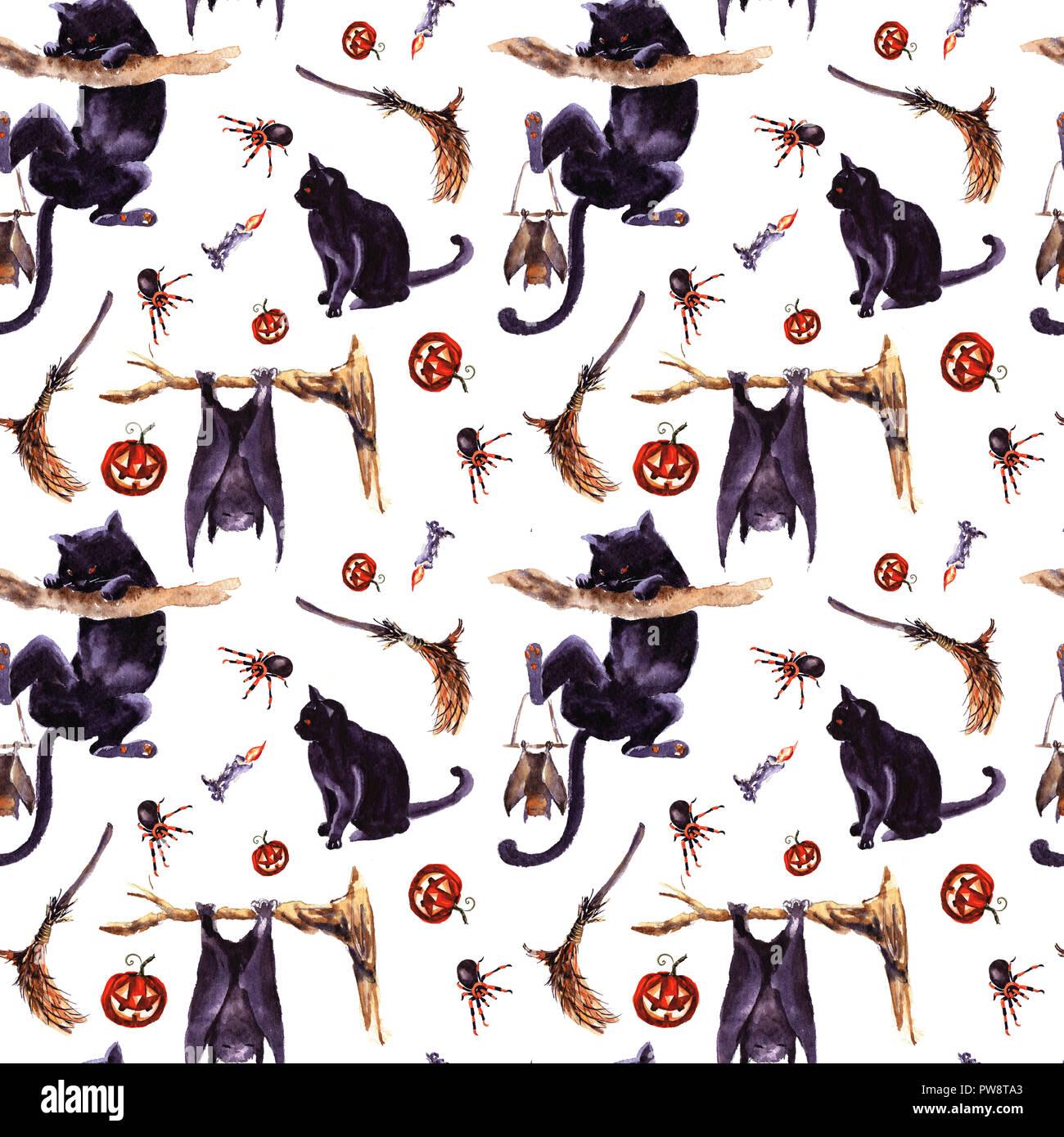 Halloween Seamless Pattern Simbolo Di Vacanza Disegnato A Mano