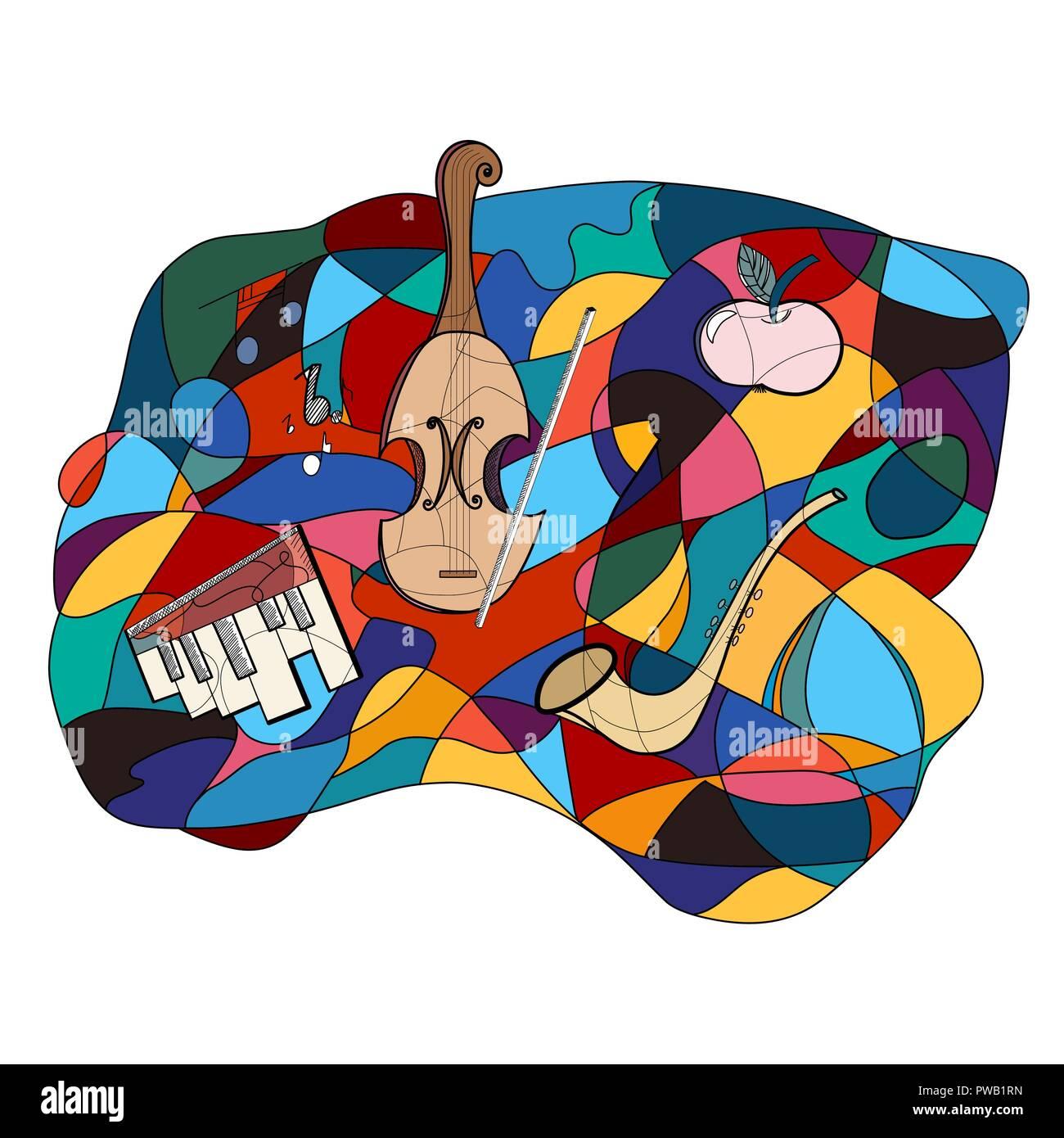Strumenti musicali colorate vettore astratta. Disegnata a mano scarabocchi e strumenti musicali. Immagini Stock