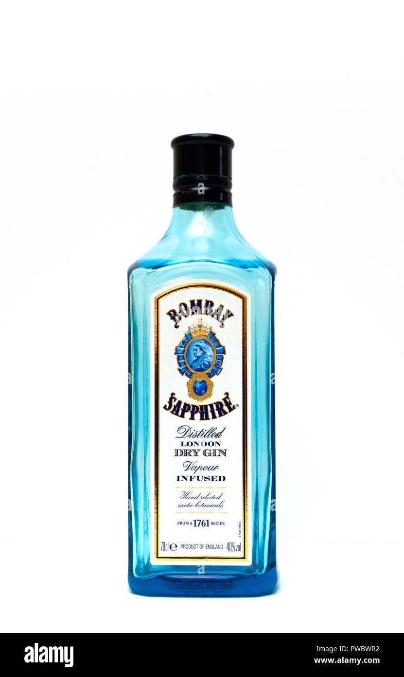 Bombay Sapphire London dry gin Immagini Stock