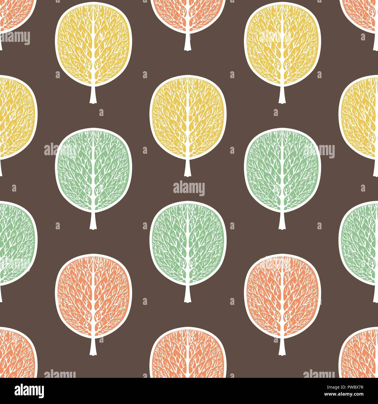 Alberi Astratti Seamless Pattern Illustrazione Vettoriale E