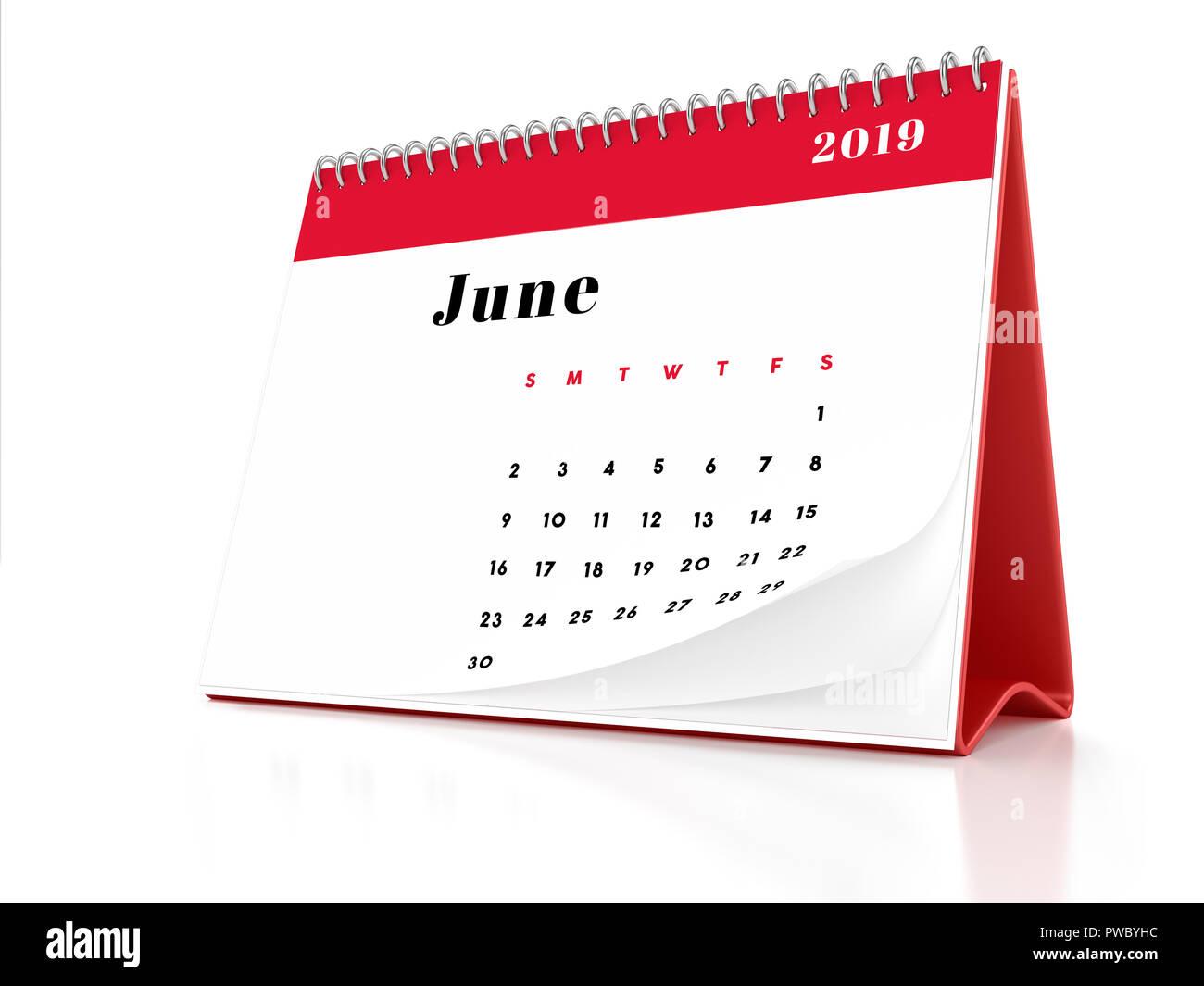 2019 Giugno Pagina Di Un Calendario Desktop Su Sfondo Bianco Il