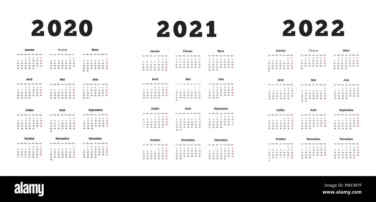 Set di formato A4 verticale calendari semplice in francese a 2020