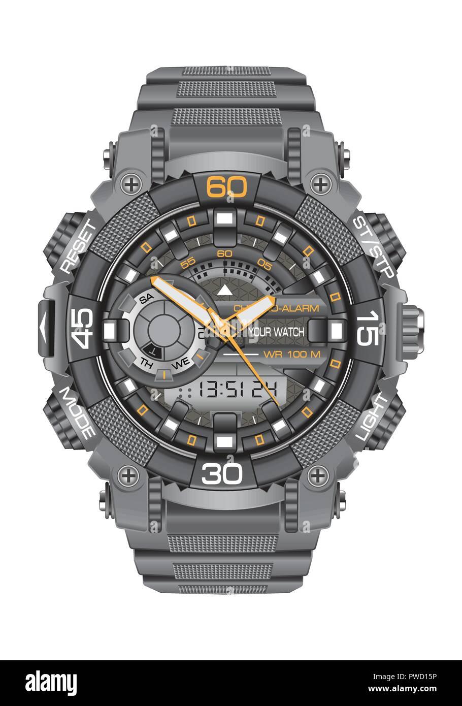50418ab0281d Orologio realistico guardare dello sport cronografo digitale grigio per  uomini disegno moderno su sfondo bianco illustrazione