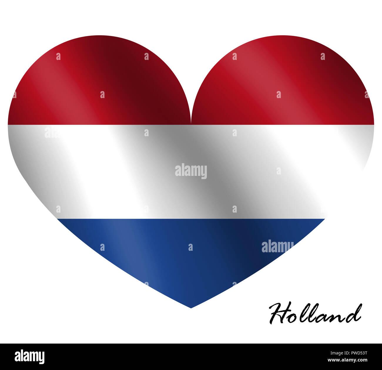Bandiera Olandese In Forma Di Cuore Illustrazione Olanda Bandiera