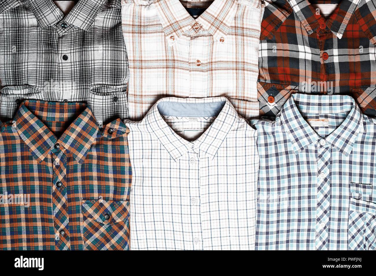 più recente 17463 56d9e Sei diverse camicie a scacchi. Moda Denim sfondo Foto & Immagine ...