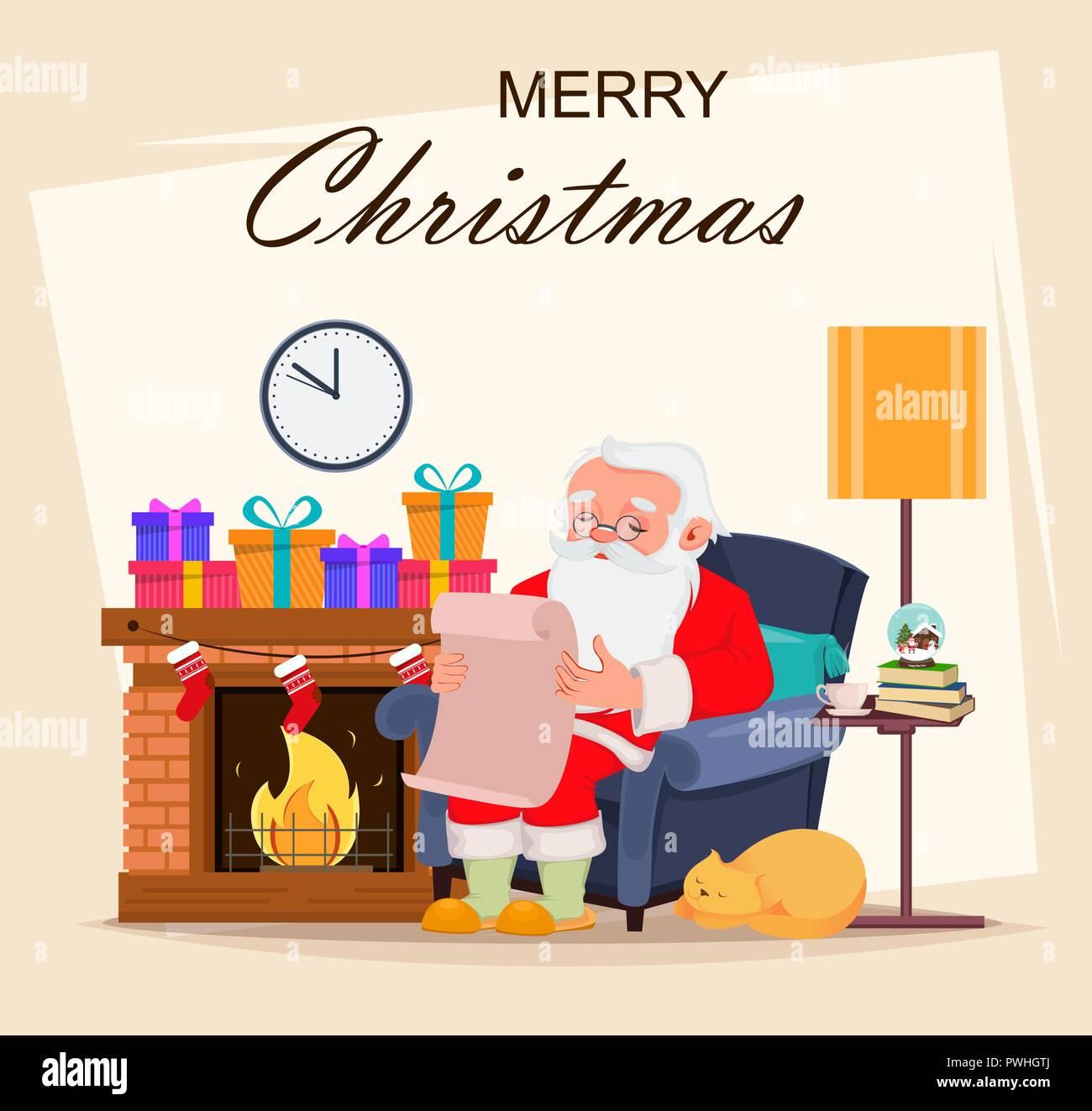 Biglietti Buon Natale Bambini.Buon Natale Biglietto Di Auguri Con Babbo Natale Personaggio Dei