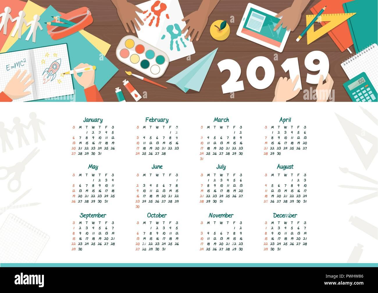 Calendario Bimbi.Bimbi Creativi A Scuola Il Calendario 2019 Bambini Felici
