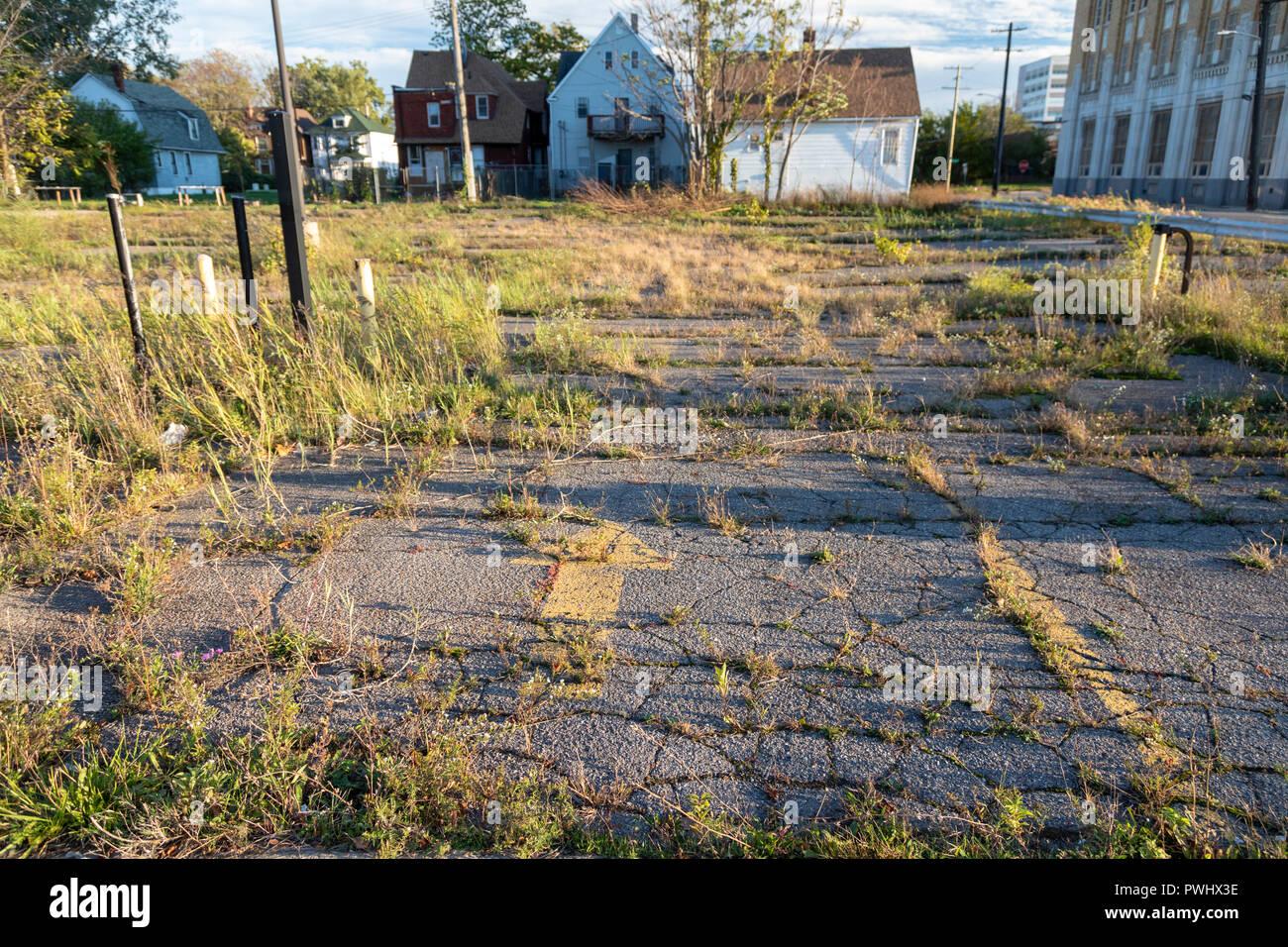 Detroit, Michigan - Un abbandonato AT&T dipendente parcheggio. Immagini Stock