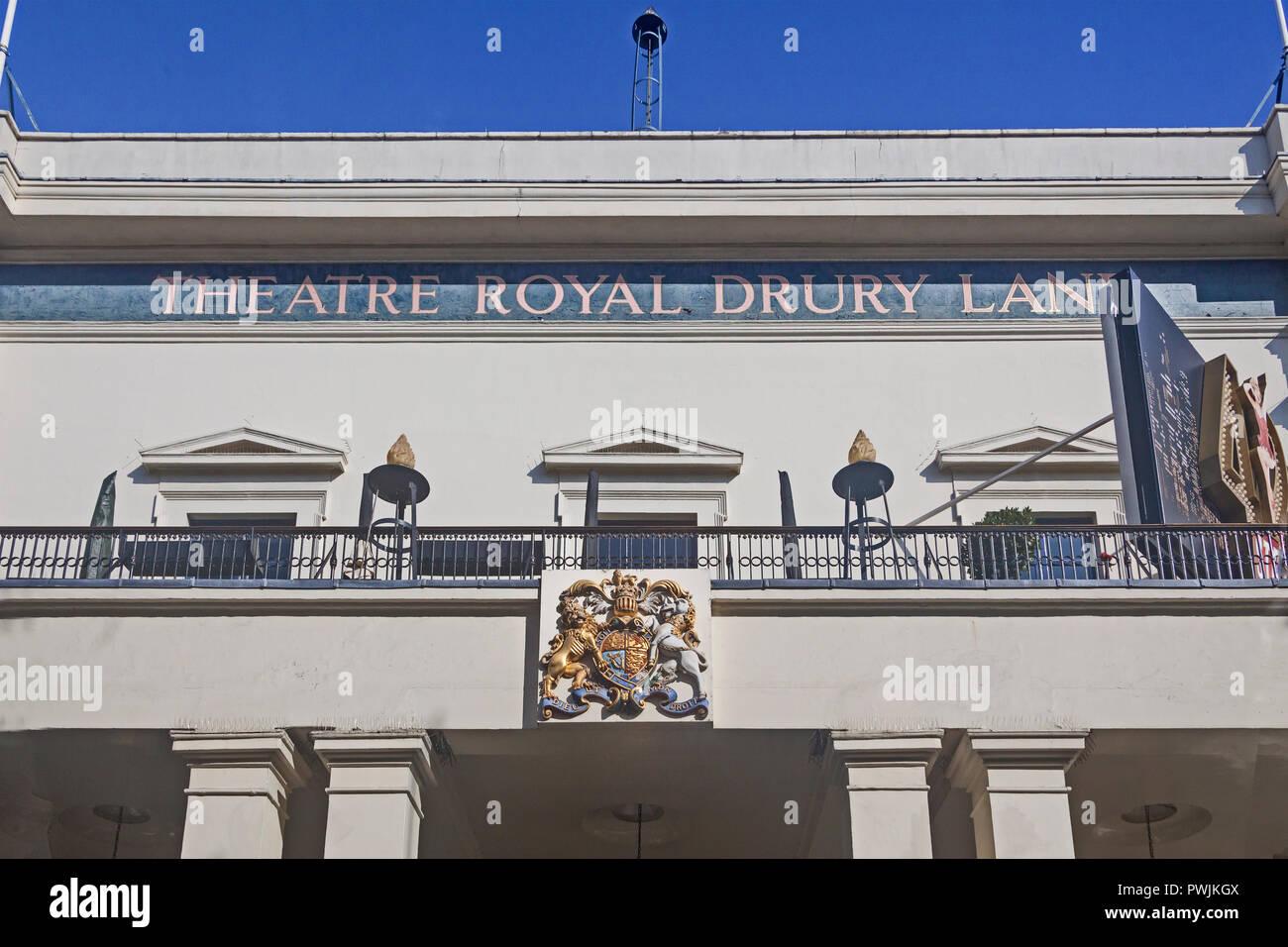 Londra Covent Garden . Il Theatre Royal Drury Lane, che mostra la sezione centrale della facciata del 1812. Immagini Stock