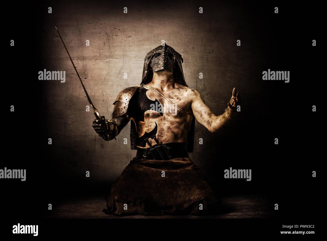 Ritratto di un guerriero barbaro Immagini Stock