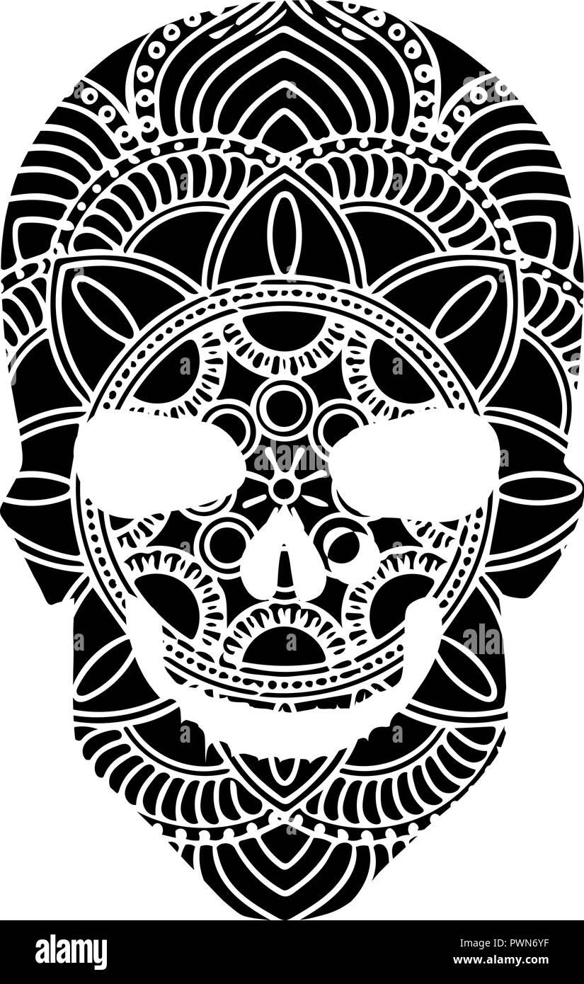 Il Vettore In Bianco E Nero Tattoo Skull Illustrazione Su Sfondo