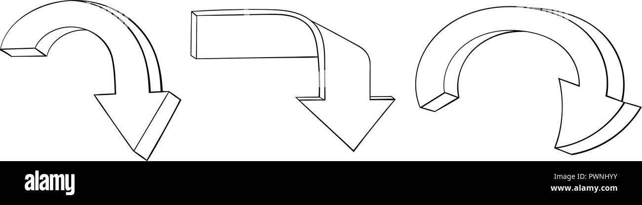 Freccia disegnata a mano scarabocchi. Segni giù Immagini Stock
