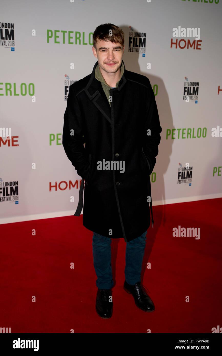 Manchester, Regno Unito. Il 17 ottobre 2018. Attore Nico Mirallegro arriva al BFI London Film Festival premiere di Peterloo, presso il complesso di casa in Manchester. Credito: Russell Hart/Alamy Live News Immagini Stock