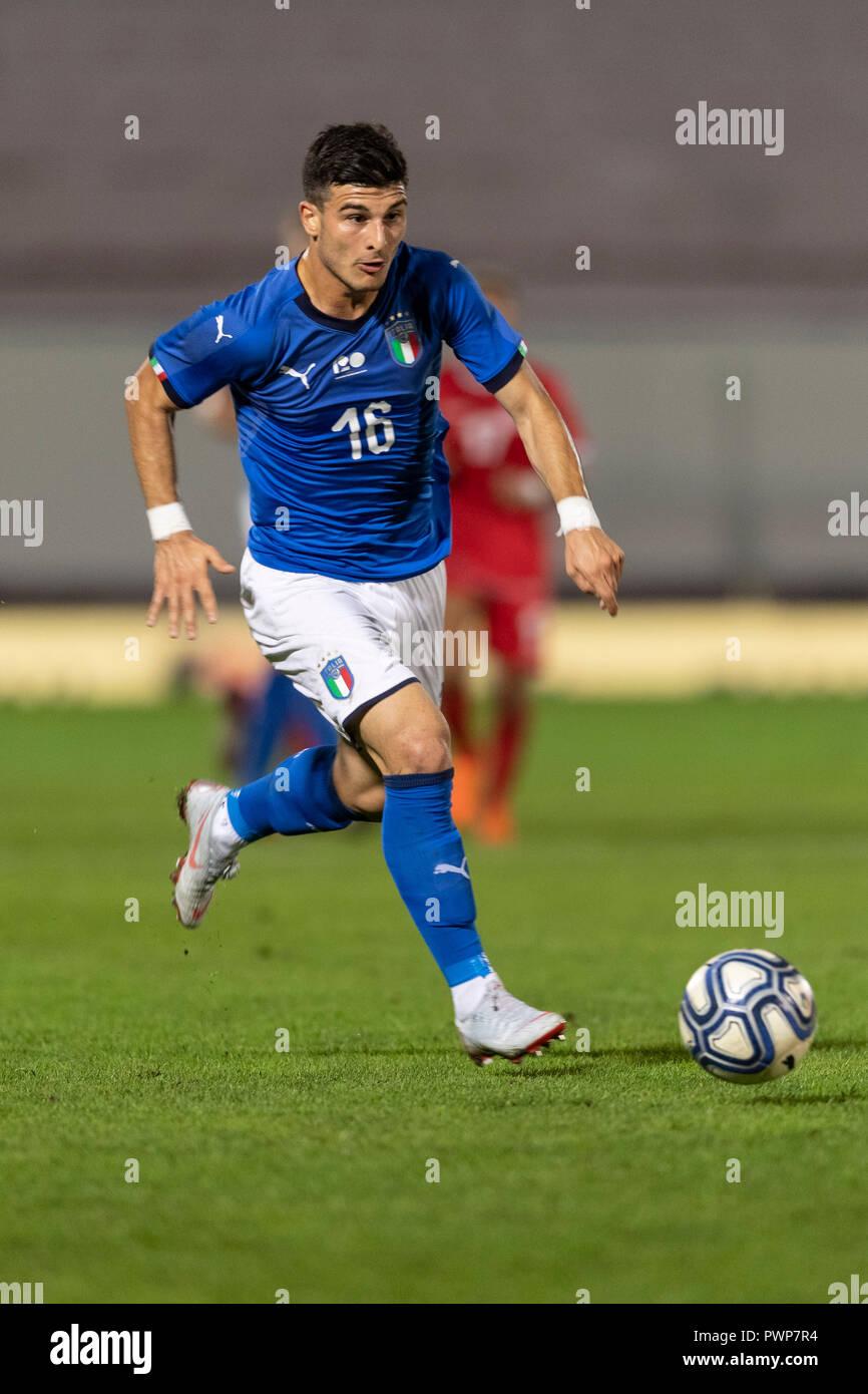 Riccardo Orsolini (Italia) durante la UEFA Europei Under 21 Championship  Italia 2019 partita di qualificazione tra Italia 2-0 Tunisia al Romeo Menti  Stadium il 15 ottobre 2018 a Vicenza, Italia. Credito: Maurizio