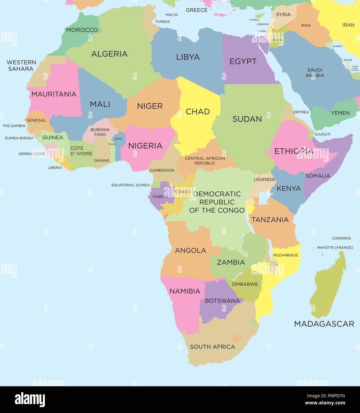 Cartina Geografica Africa Politica.Colorata Mappa Politica Dell Africa Dettagliata Illustrazione Vettoriale Immagine E Vettoriale Alamy