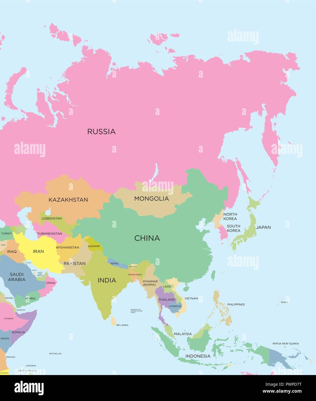 La Cartina Geografica Dell Asia.Colorata Mappa Politica Dell Asia Dettagliata Illustrazione