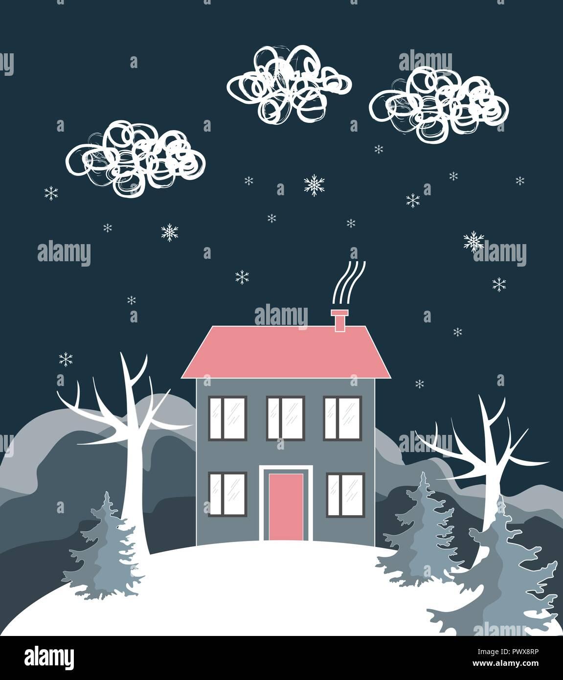 Cartone animato paesaggio invernale con casa e snow hill
