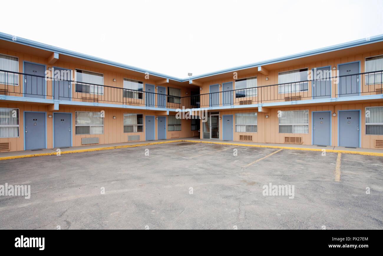 Motel economico nelle zone rurali del Wyoming, STATI UNITI D'AMERICA Immagini Stock