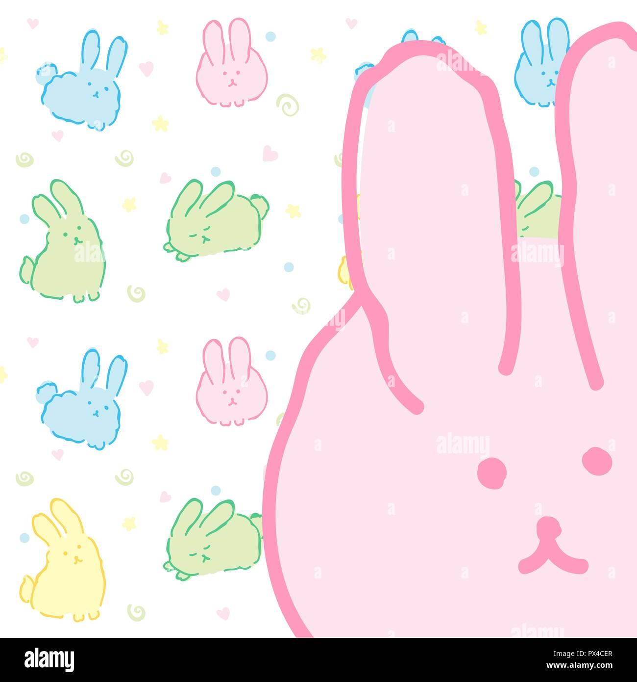 Coniglietti Scheda Sfondo Di Pattern Con Graziosi Conigli Fluffy