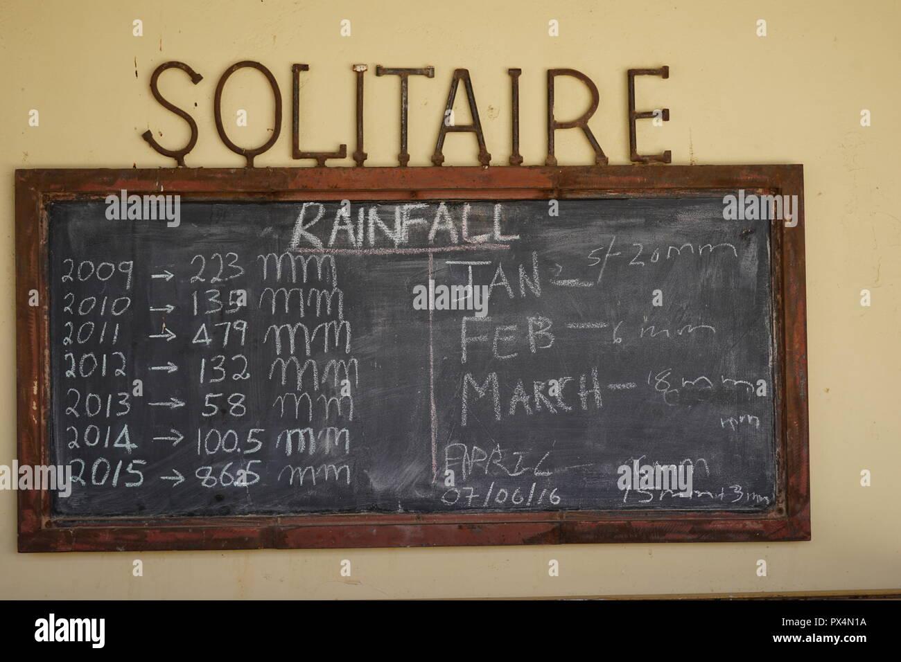 Solitaire, pioggia, Niederschläge, Raststätte an der C14 und C24, Namibia, Afrika Immagini Stock