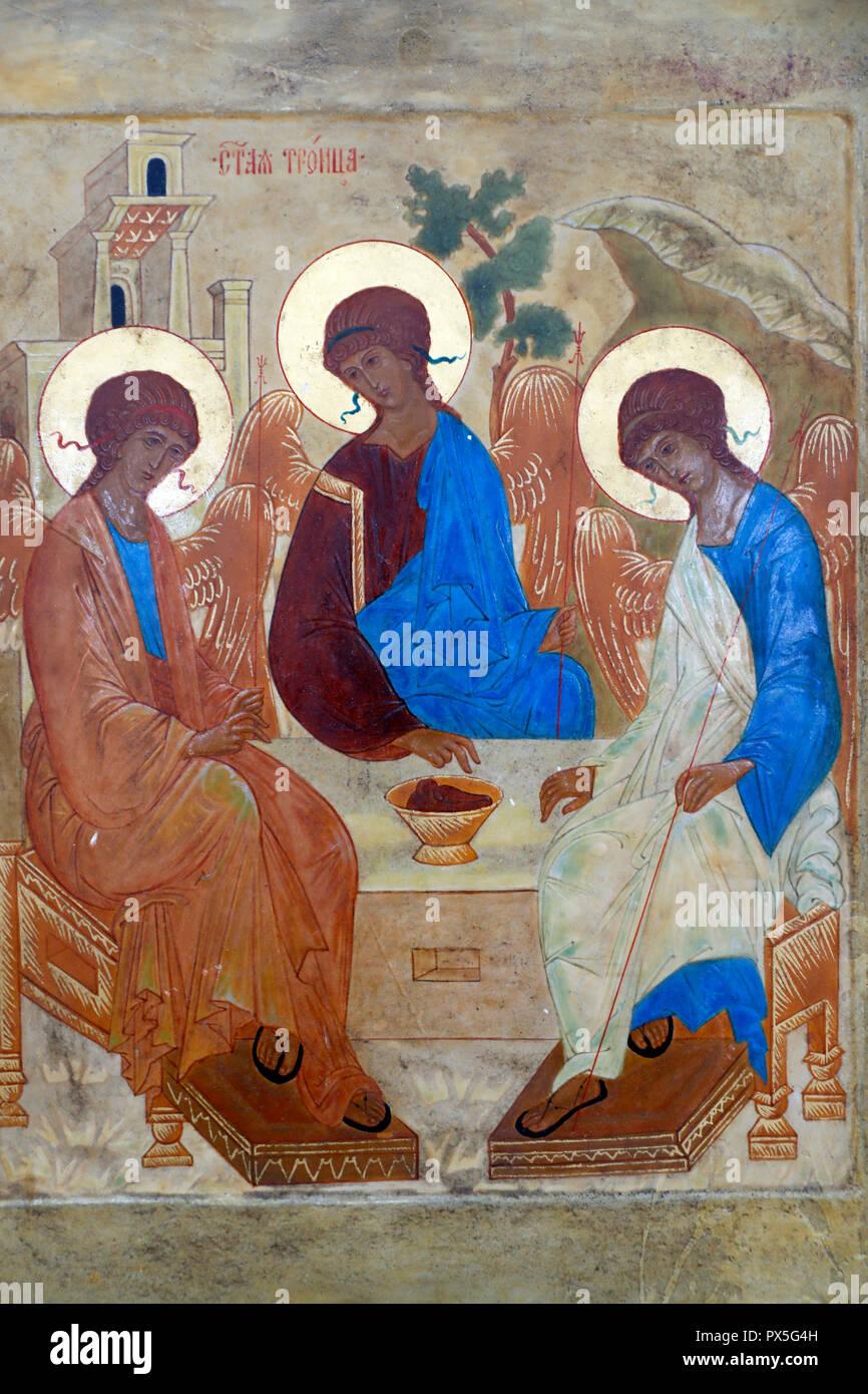 La trinità chiamato anche l'ospitalità di Abramo è una icona creato dal pittore russo Andrei Rublev nel XV secolo. Consiglio Mondiale delle Chiese Immagini Stock
