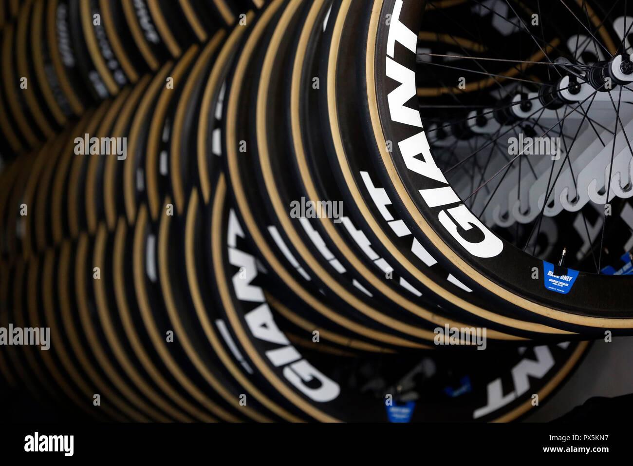 Criterio del Dauphine Libere corsa di ciclismo 2018. Pneumatici. Saint Gervais Mont Blanc. La Francia. Immagini Stock