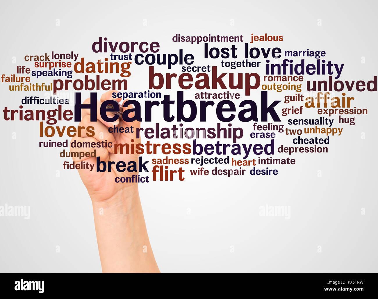 Heartbreak cloud di parola e la mano con il concetto di marcatore su sfondo bianco. Immagini Stock