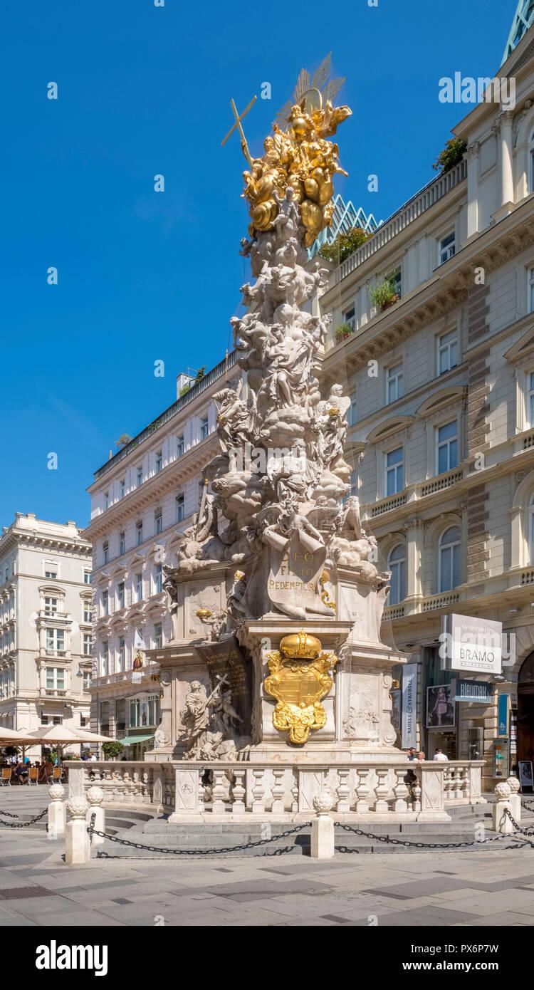 La colonna della Peste, Pestsaule, sul Graben nel centro di Vienna, Austria, Europa Immagini Stock