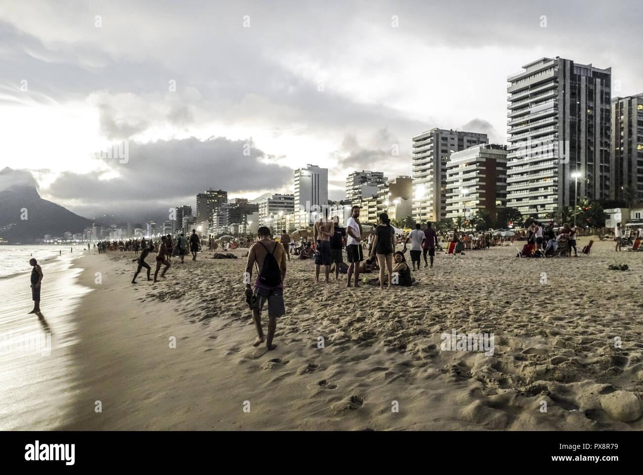 Rio de Janeiro Ipanema Beach, Brasile Immagini Stock