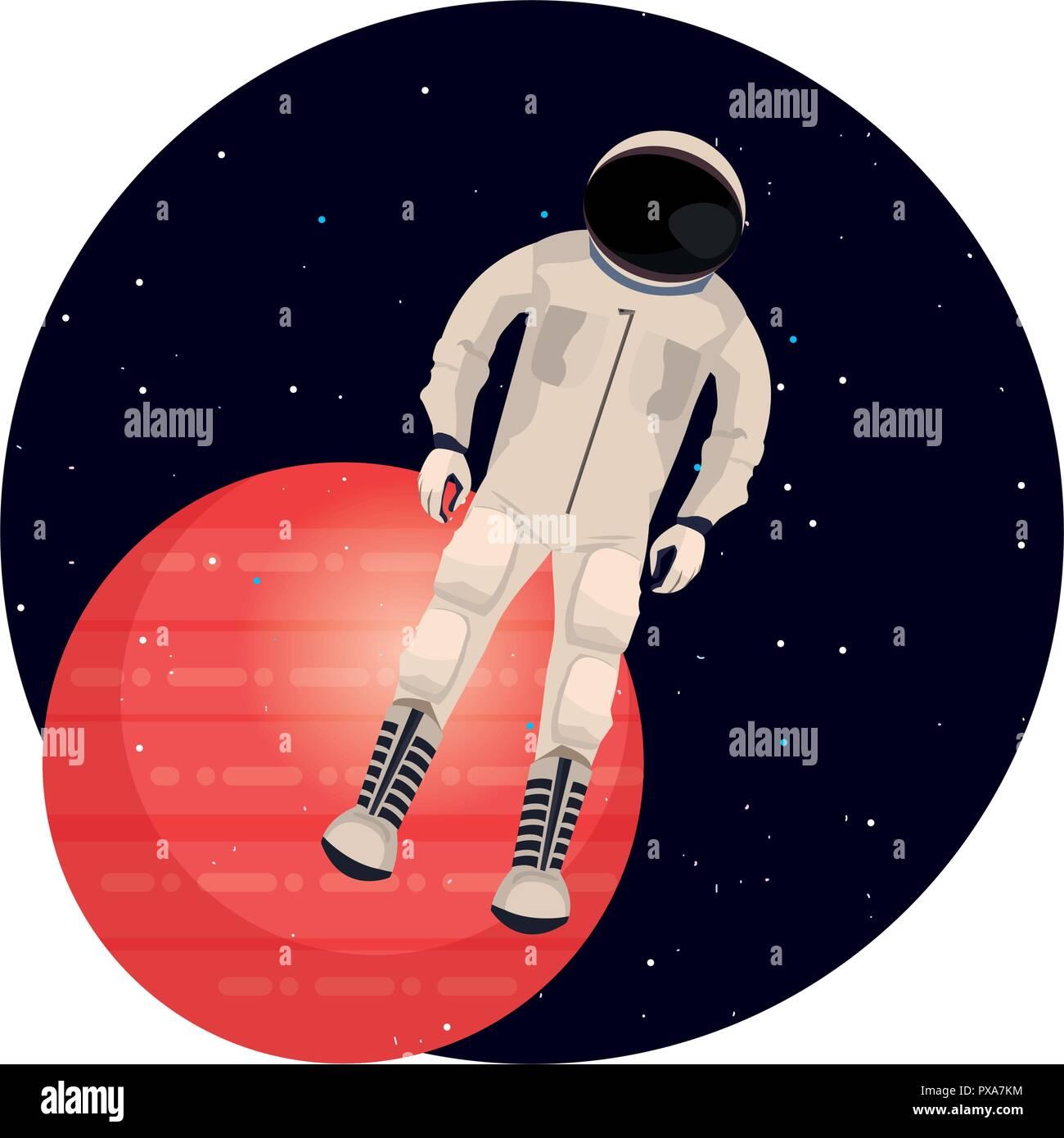 Astronauta astronomia space personaggio in tuta illustrazione