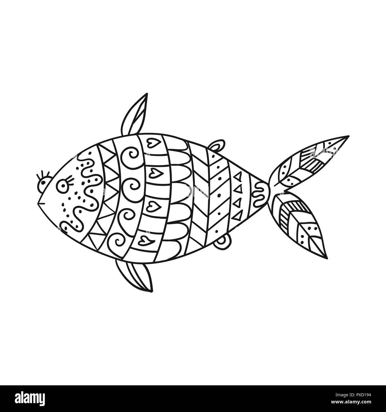 Pesce Stilizzato Isolati Su Sfondo Bianco Freehand Pesci