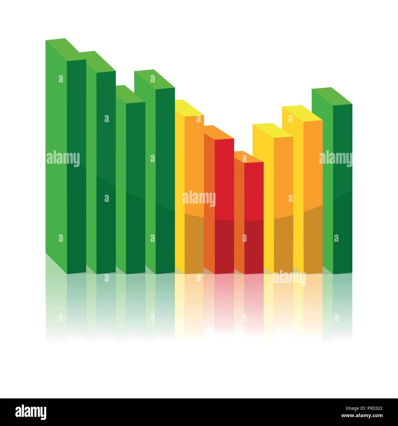 Grafico discendente ed ascendente il concetto di business illustrazione vettoriale EPS10 Immagini Stock